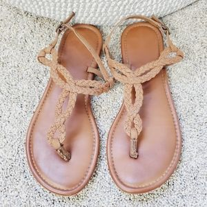Altar'd State Rope Strap Brown Leather Sandals